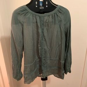 LOFT Deep Hunter Green Long Sleeved Shirt.